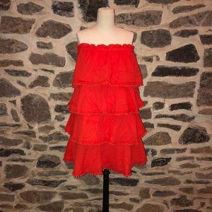 Red Ruffle Strapless Dress
